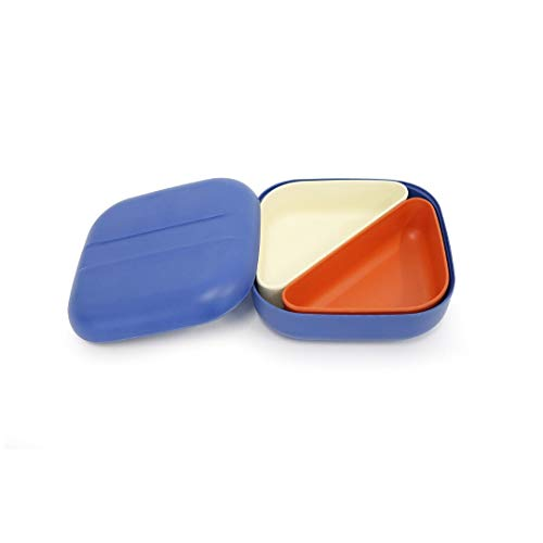 Ekobo Biobu Go SAS ccoll Collection Bento Lunch Box de 4, 15x 15x 6,5cm bleu marine