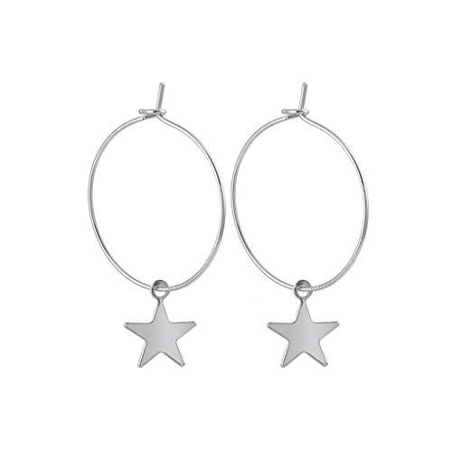 Bodbii Pendientes plateado perforada de la estrella del aro de aleación geométrico gota colgante que cuelga gota para el oído joyería y accesorios (silver)