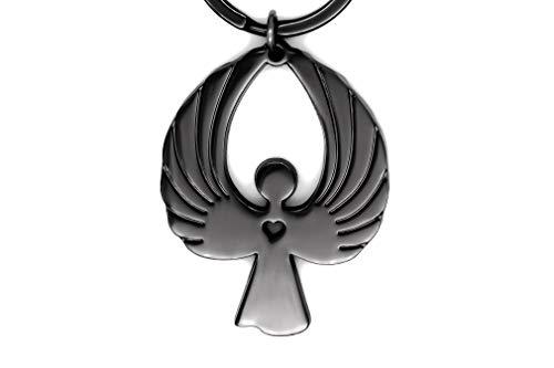 Angel Craft – Schutzengel Schlüsselanhänger – Wunderschönes Geschenk für Frauen - Eleganter Schutzengel Anhänger – Auto – Silver, Rosegold, Metall, Gold und Schwarz (Schwarz)