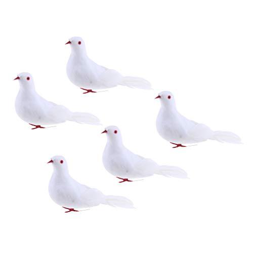 Sharplace 5Pcs Colombe Artificiel Mousse Oiseaux Décor Mariage Jardin Ornement