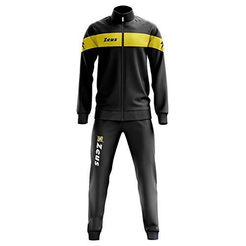 Zeus Herren Sportanzug Trainingsanzüge Running Laufen Training Sport Set Trikot Shirt Shorts Hosen TUTA APOLLO SCHWARZ GELB (XL)