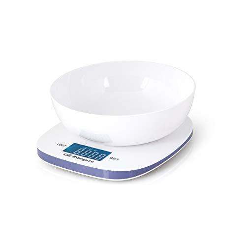Orbegozo PC 1014 - Báscula cocina digital con bol de pesaje de 1,5 litros, capacidad máxima 5 Kg, escalado 1 g, función tara