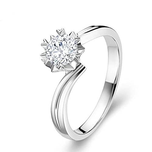 LINYIN 2pcs Alta imitación 18k Oro zircón Diamante Anillo Matrimonio propuesta Boda Diamante Anillo Femenino Genuino 1 quilate Anillo 4号 White and Gold