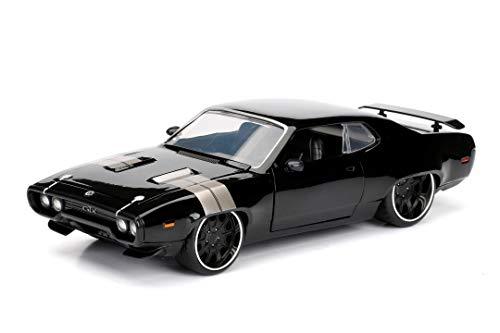 Jada Toys 253203034 Fast & Furious 8 Dom's Plymouth GTX, 1972, Auto, Spielzeugauto aus Die-cast, öffnende Türen, Kofferraum & Motorhaube, Maßstab 1:24, schwarz
