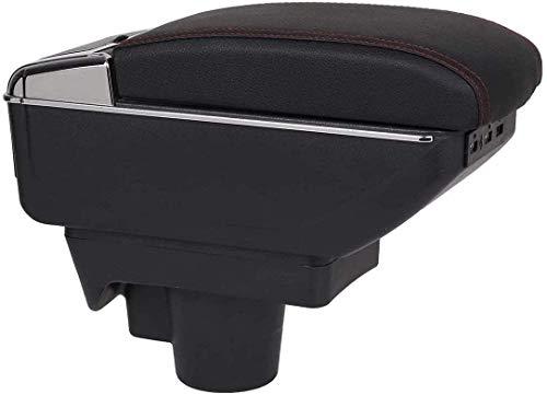 Caja de almacenamiento del apoyabrazos, para Opel Astra H Caja de almacenamiento de la consola central, reposabrazos de cenicero con titular, doble USB negro, rojo