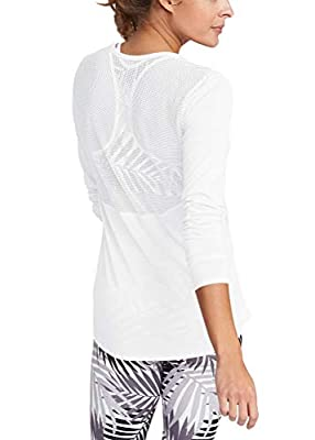 Mippo Women's Activewear Long Sleeve Yoga Workout Mesh Shirts Sports Running Tank Top