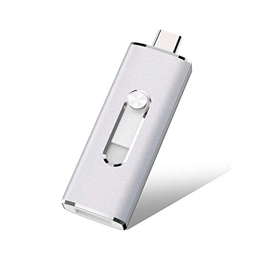 128GB USB C Flash Drive K&ZZ 2 in 1 OTG USB 3.0 Thumb Drive High Speed Memory Stick Metal USB Drive for Type-C Android Smartphones, Tablets and PC Laptop, Silver