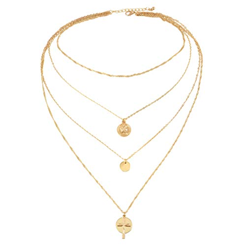 Myhouse Multilayer Cross Disc Pendant Necklace Short Chain for Women