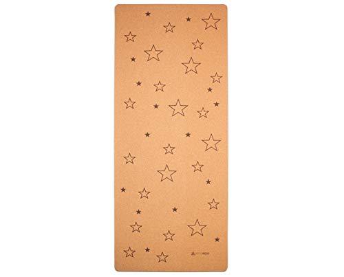 Secoroco Esterilla de yoga para niños de corcho y caucho con estrellas, tamaño 122 x 61 cm, sin sustancias nocivas, antideslizante, vegana y sostenible, esterilla de yoga ecológica con bolsa d
