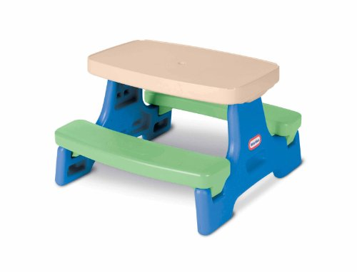 Little Tikes Easy Store Jr. Kid Picnic Play Table With Umbrella - Toddler Backyard Bench Good for Indoor, Garden, Beach, & Playground - Portable & Lightweight Easy to Install Spacesaver Chair Playset