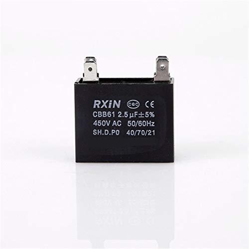 WSCHENG 1pcs CBB61 A Partir de capacitancia AC Ventilador Capacitor 450V AC 1uF / 1.2uF / 2uF / 2.5uF / 3uF 50 / 60Hz de Funcionamiento del Motor Capacitor 400/350/300 / 250VAC (Color : 2.5uF)