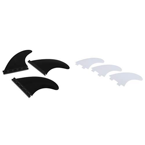 B Blesiya 6 Unidades Aletas para Tablas de Surf Longboard/Shortboard/Funboard, Blanca + Negra