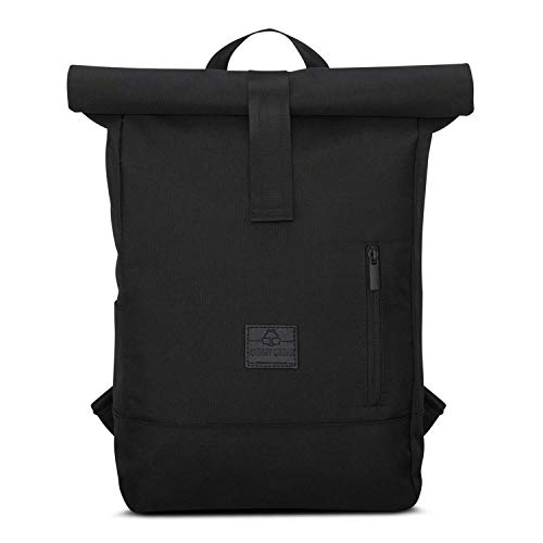 JOHNNY URBAN Roll Top Backpack Women & Men Black -'Robin' from Recycled PET bottles - Durable Rolltop Daypack - Casual Rucksack Day Bag - Water-repellent, Flexible Size with Laptop Compartment