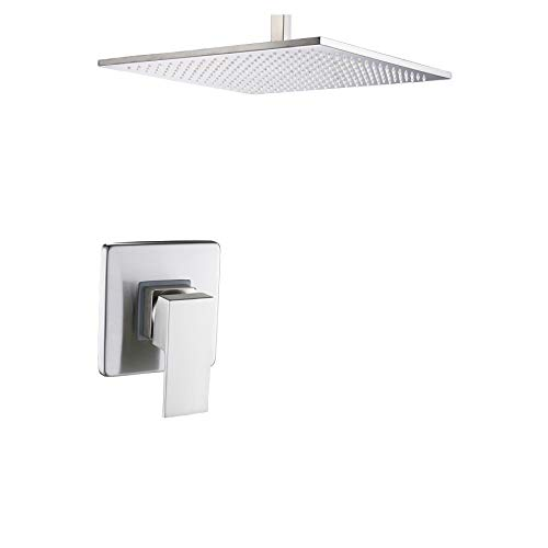 Rozin Bathroom One-way Mixer Valve Ceiling Mounted 16-inch Rainfall Shower Head Brushed Nickel