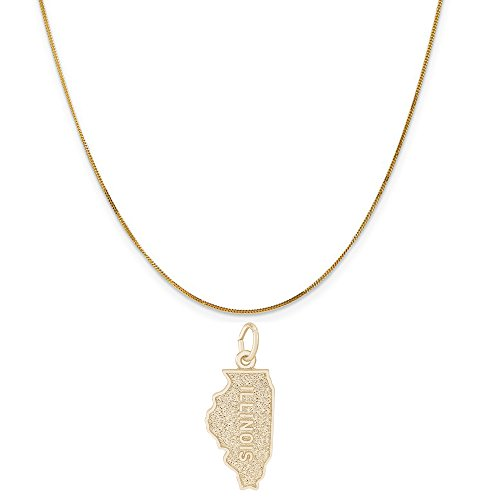 Rembrandt Charms 14K Yellow Gold Illinois Charm on a 14K Yellow Gold Curb Chain Necklace, 20'