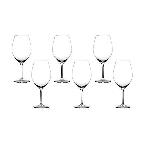 Summa - Copas de vino tinto. Set de 6 unidades. 600ml/60cl | Cristal, alta transparencia y borde fino | Uso en casa, restaurante y fiestas |