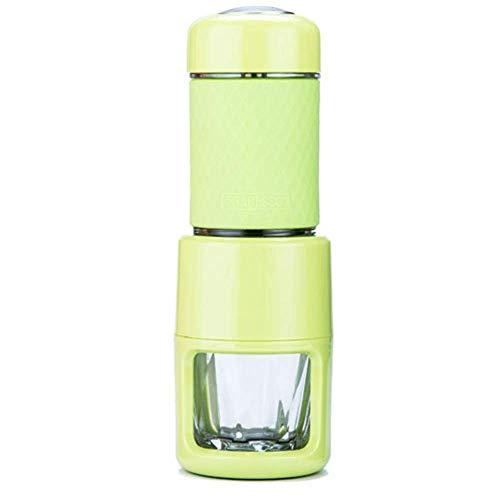 YYANG Kaffeetasse Tragbare Handkaffeemaschine Italienisches Kaffeekonzentrat Manuelle Kapsel Home Travel Pot,Green
