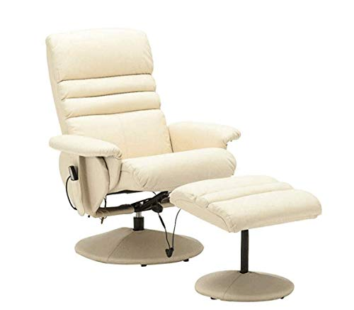 Mcombo Electric Faux Leather Recliner Chair and Ottoman Swivel Gaming Massage Chair with Wrapped Base Remote Control, Swivel Seat 7902 (Creme White) chair gaming white