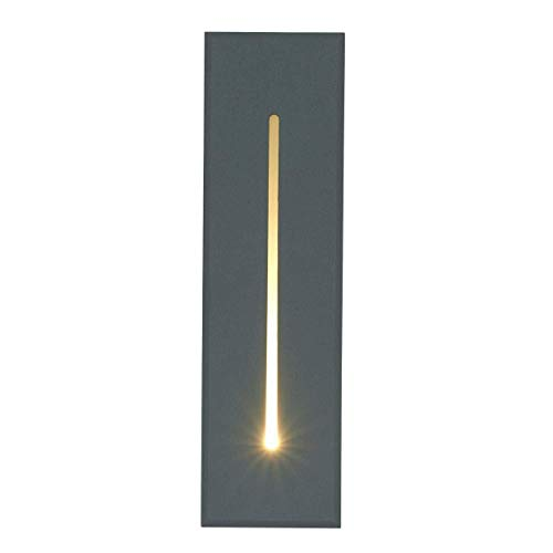 Escalera Iluminación Peldaños Luz Lámpara empotrada en el suelo Foco de pared exterior Aluminio/Luminaria LED 3W para Patio/Paisaje/Camino/hueco de escalera/Suelo Antracita 19CM IP65