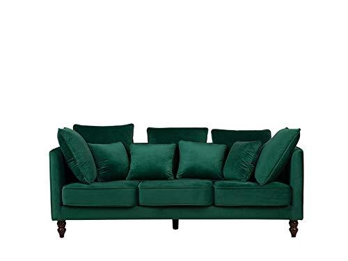 Beliani Modernes Dreisitzer Sofa in Grün Samtstoff Polsterbezug Fenstad