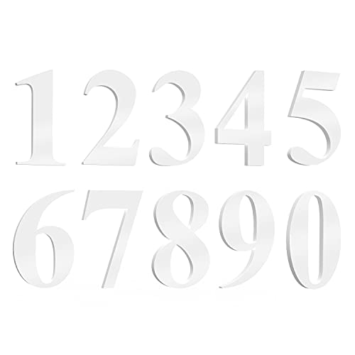 3 Inch Mailbox Numbers (0-9) House Numbers, Door Address Numbers Stickers, Self-Adhesive Number Sign, for Apartment, House, Room, Office, Cars, Trucks (01, White)