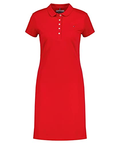 Tommy Hilfiger Damen Slim Polo Dress Kleid, Rot (Primary Red XLG), 40 (Herstellergröße: X-Large)