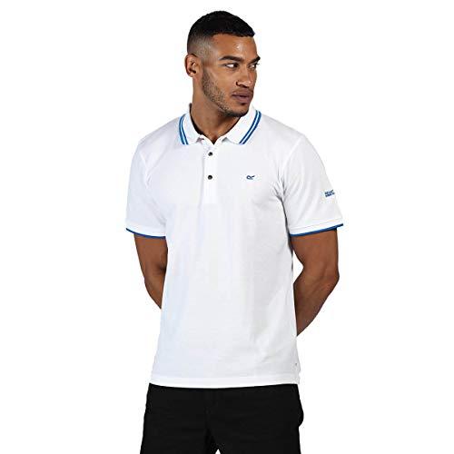 Regatta Polo 100% Coton Talcott II boutonné au Cou T-Shirts Vests Homme, White/Nautical Blue, FR : L (Taille Fabricant : L)