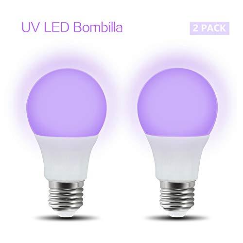 Luxvista 2× LED Bombillas UV, 5W Bombilla de Luz A60 Iluminación Ultravioleta, 100-240V E27 Bombilla Lámpara de Luz Violeta Nivel UV-A Bajo Consumo para Halloween Fiesta Navidad Disco Pinta Corporal