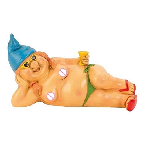 Baoblaze Estatua de Gnomo Desnudo de jardín Travieso para Adornos de césped, gnomos Divertidos, Escultura de gnomos de jardín Interior/Exterior para la - Las Mujeres