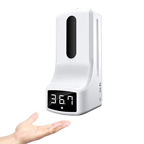 Elitte Termometro Senza Contatto + Dispenser di Gel Disinfettante per Le Mani Montato Parete 1000ML 2 in 1 con Allarme Febbre per fabbriche, Negozi, ristoranti, Scuola, Ufficio