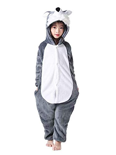 LATH.PIN Tierkostüm Schlafanzug Karnevalskostüme Faschingskostüme Tier Jumpsuits für Kinder Jungen Mädchen (Wolf, XL/115(Für Höhe 130-140cm))
