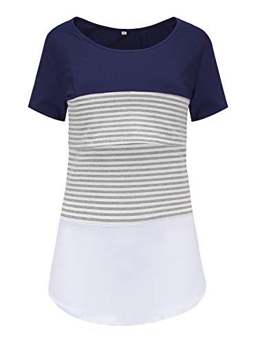 Love2Mi Damen Mutterschaft Spitze gestreift Stillende Oberteile Kurzarm Stitching Stillendes T-Shirt, Marineblau, M