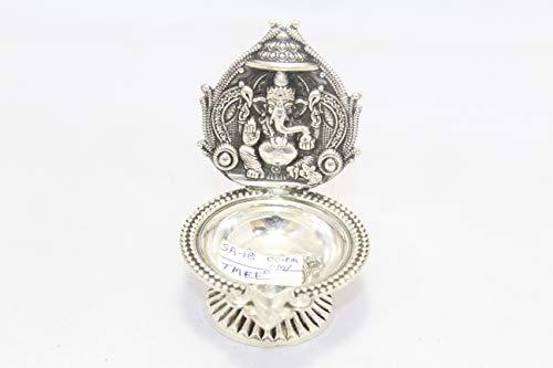 Rajasthan gems Handgefertigte Öllampe Ganesha Diya Deepak 925 Sterling Silber Tempel Pooja Artikel