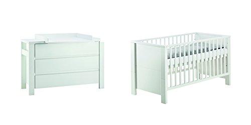 Schardt 10 649 52 02 Sparset Milano mit extra breiter Wickelkommode und Kombi-Kinderbett, 70 x 140 cm, weiß