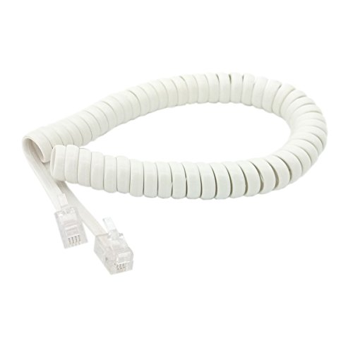 Handset Cord, Telephone Handset Coiled Cable Telephone Spiral Cable 6ft White