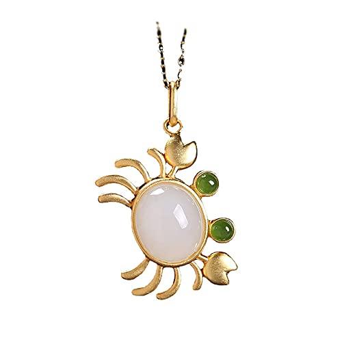 Collar con colgante de cangrejo de jade blanco Hetian natural con incrustaciones de plata, estilo chino, retro, fresco, romántico, encantador, joyería de hadas