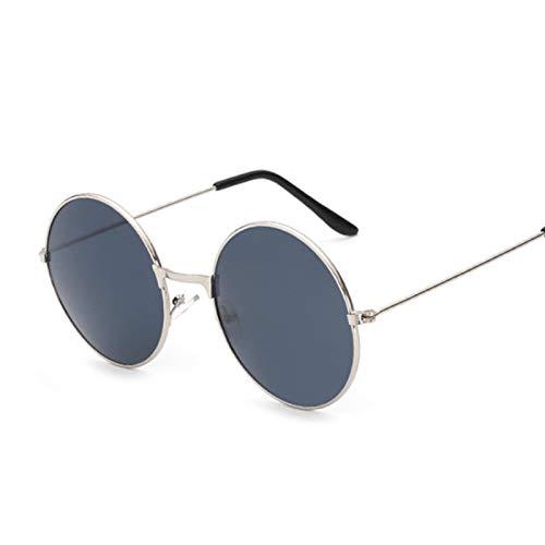 ShSnnwrl Gafas De Moda Gafas De Sol Gafas De Sol Redondas Pequeñas Retro para Mujer, Gafas De Sol DeMetal Negro conSombras Vintage,Gafas De Sol De