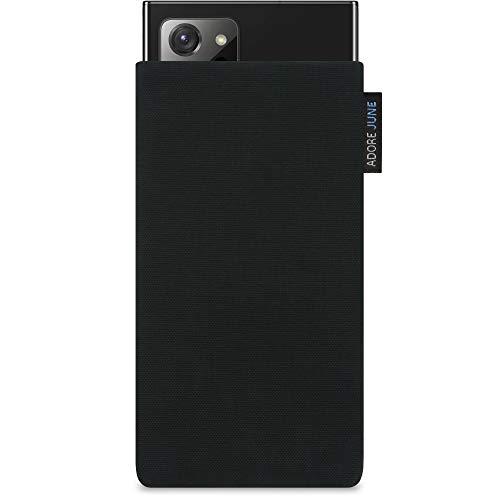 Adore June Classic Schwarz Tasche kompatibel mit Samsung Galaxy Note 20 Ultra Handytasche aus beständigem Cordura Stoff mit Bildschirm Reinigungs-Effekt, Made in Europe