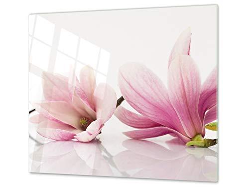 Concept Crystal ASSE da Cucina in Vetro temperato – Tagliere in Vetro – Pezzo Unico (60x52 cm) o Due Pezzi (30x52 cm ognuno); D06 Serie Fiori: Fiore 1