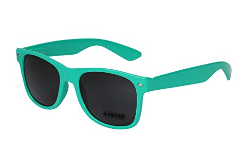 X-CRUZE 8-013 - Gafas de sol nerd retro vintage unisex hombre mujer gafas nerd - turquesa