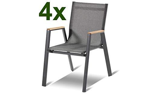 Hartman 4er Set Aruba Stapelsessel in xerix/anthrazit aus Aluminium & Textilene mit FSC Teak-Armlehnen, Gartenstuhl-Set