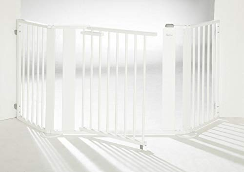 Geuther - Kaminschutzgitter/ Konfigurationsgitter 2762, Türelement, Verlängerung, Winkelelement mit Fuß, erweiterbar, Holz, Weiß, 100 - 180 cm