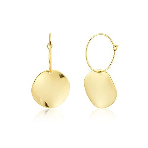 Pendientes Mujer 925 Plata Esterlina Oro Triángulo Colgante Aros Piercing Círculo Bucle Colgante Joyería De Moda para Mujeres Gold 3