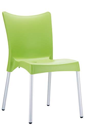Sedia Esterno XXL Juliette- Sedia Giardino o Cucina in Polipropilene e Alluminio - Sedia Bar Impilabile con Schienale Carico Max 160 kg, Colore:Verde Chiaro