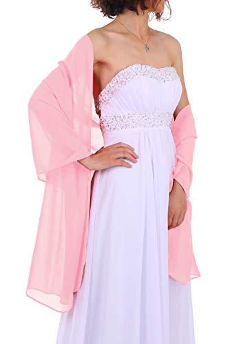 Dressystar Chiffon Stola Schal für Kleider in verschiedenen Farben Rosa 160cm*50cm