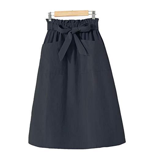 Casual Sólido De Una Línea De Algodón Midi Faldas De Las Mujeres De Verano Largo Negro Faldas Bolsillo Elástico De La Cintura Faldas