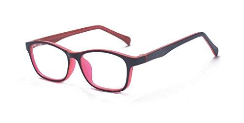 ALWAYSUV Gafas de computadora con filtro de luz azul para bloquear los dolores de cabeza UV [Anti-Fatiga ocular] Lente transparente Unisex Niños Adolescentes Rojo