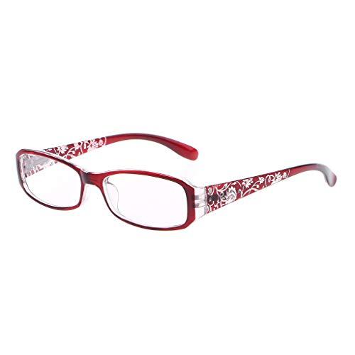 Mentin - Gafas de lectura de vista antifatiga para primavera con bisagras y flores impresas de resina para mujer + 1.0 ~ + 4.0 rojo rojo +3.0