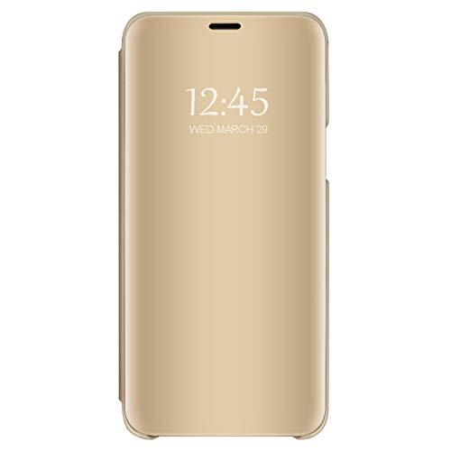 Funda para Samsung Galaxy J6 Plus Transparente Transparente Funda Transparente Ultrafina Cristal Ventana Espejo Folio Flip Cover para Samsung Galaxy J6 Plus (4, Samsung Galaxy J6 Plus)