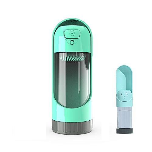 犬 携帯用 水飲みボトル 活性炭フィルター付き ペットウォーターボトル、犬 散歩用 給水器 健康な水飲み 手軽に水分補給が出来 水漏れ防止 引き出しデザイン アウトドア 水入れ 300ML グリーン 緑
